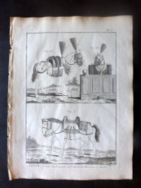 Diderot C1790 Antique Print. Sellier. Horse Saddle 05